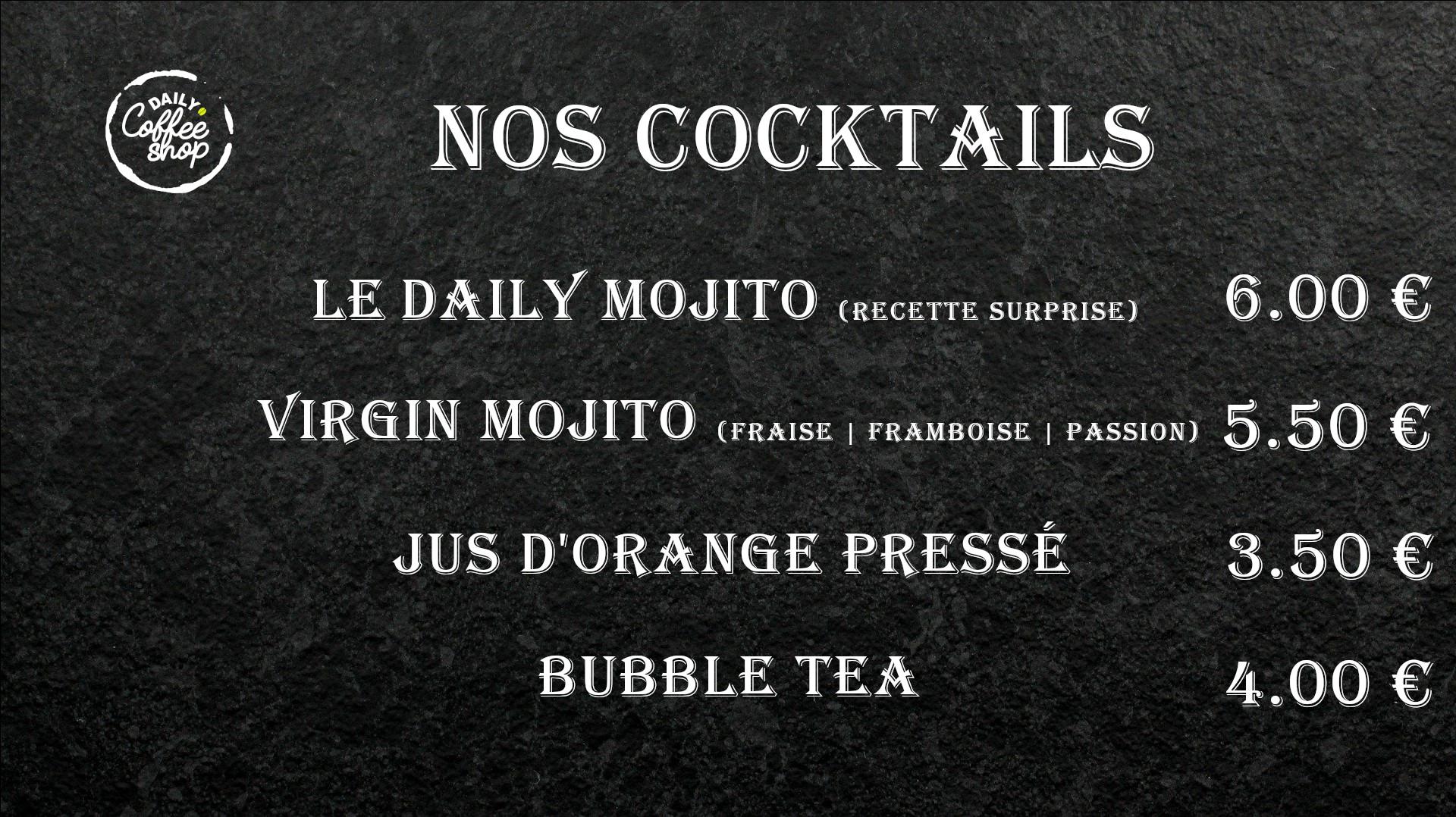 Images du menu nos cocktails de Daily Coffee Shop
