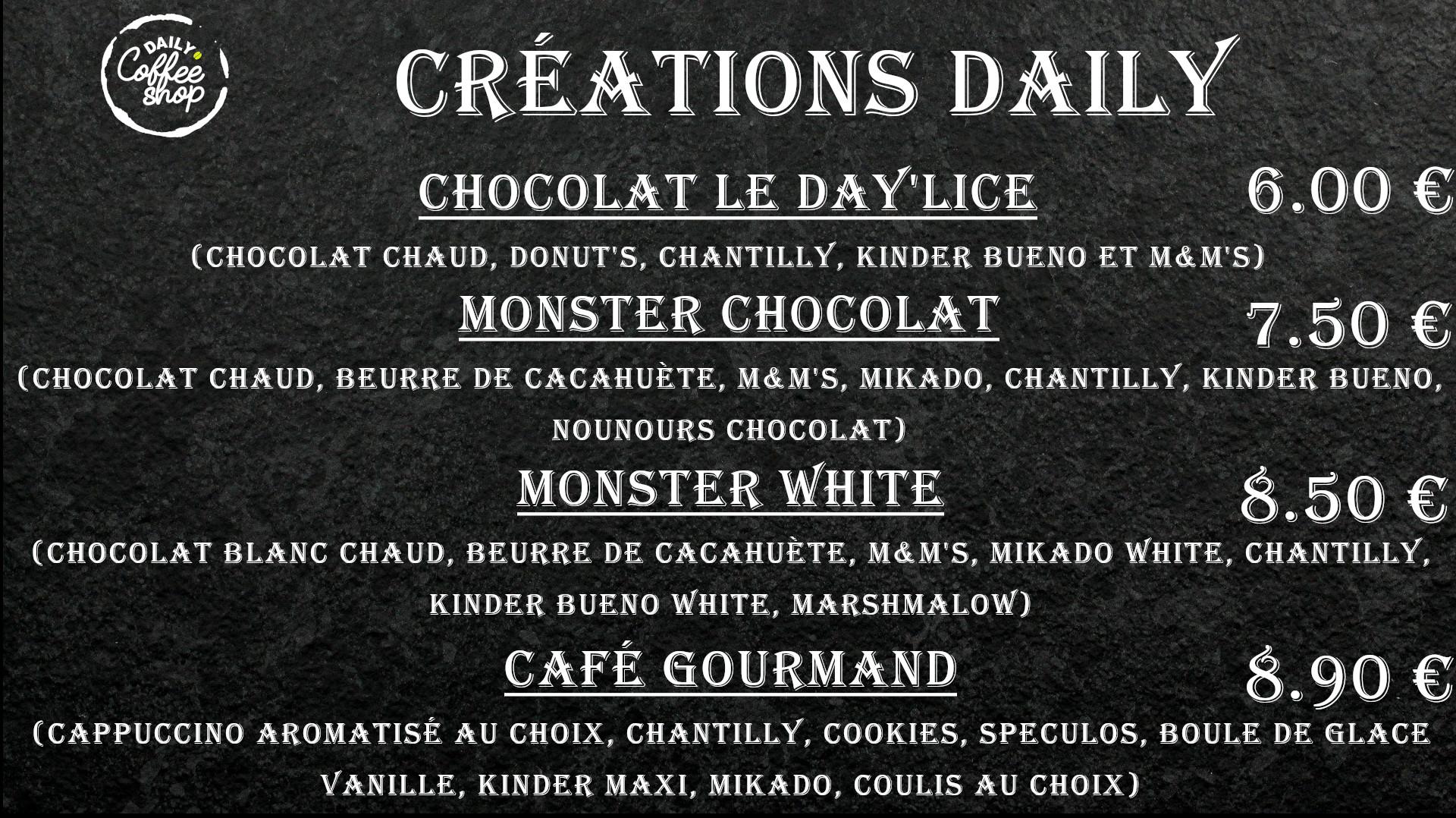 Images du menu création daily de Daily Coffee Shop