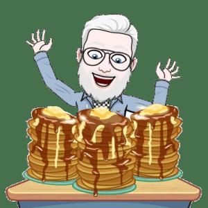 Emoji d'un homme avec des pancakes