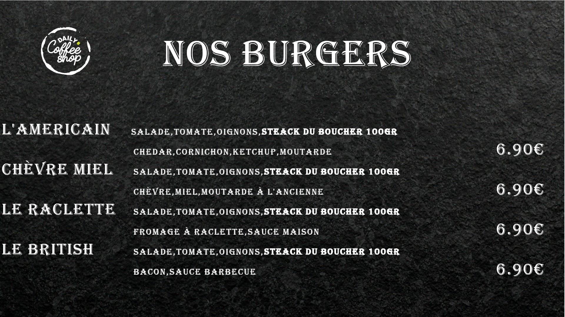 Images du menu des burgers de Daily Coffee Shop