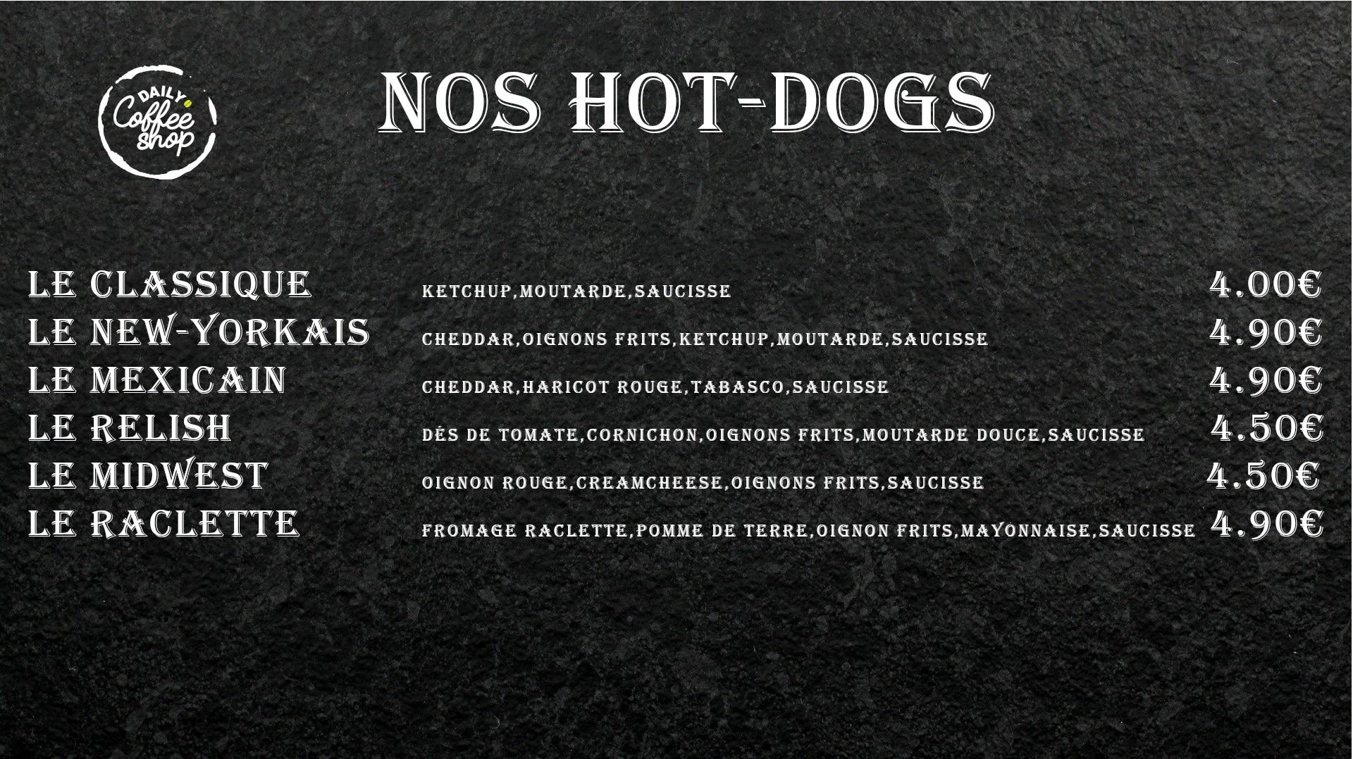 Images du menu des hot dogs Daily Coffee Shop